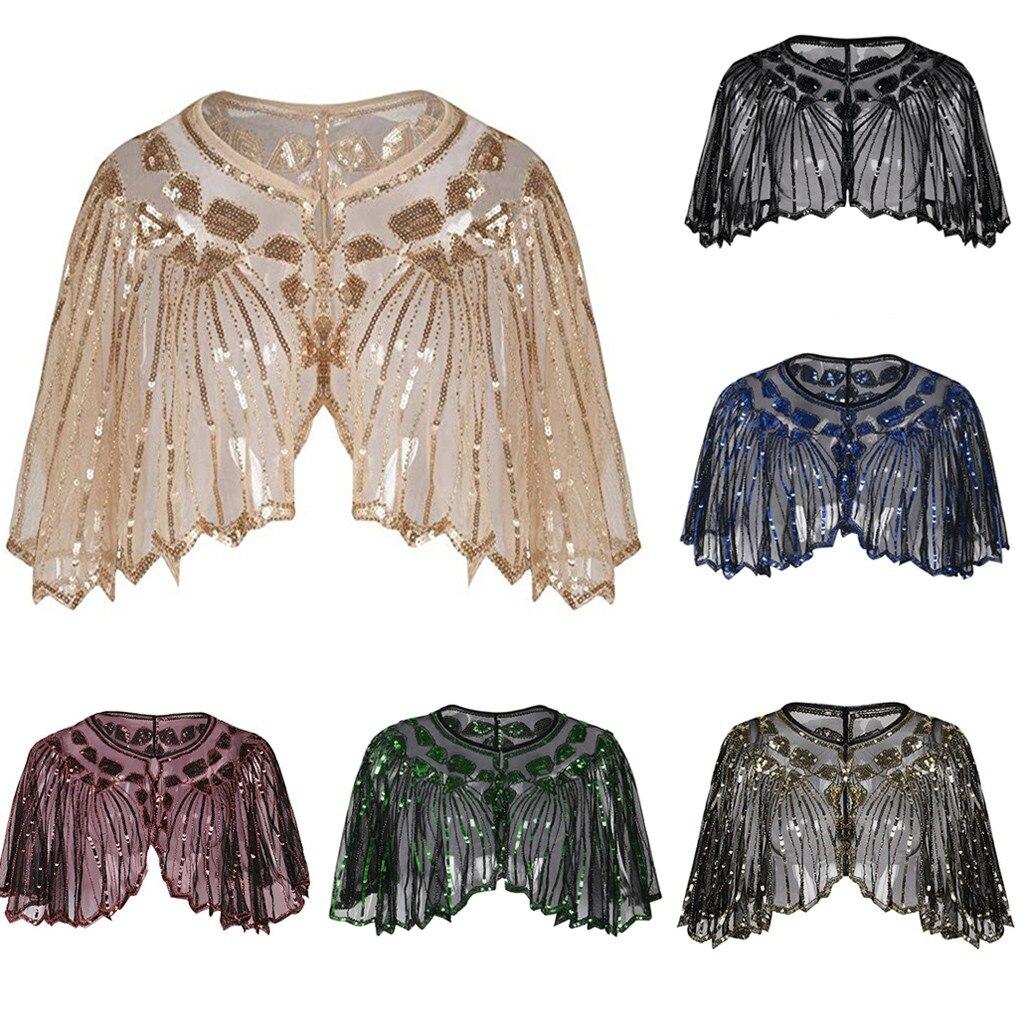 Для женщин 1920s шаль из блесток деко вечерняя накидка Болеро откидной Чехол из искусственной кожи на шнуровке; Европейская и американская то...