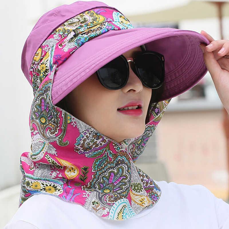 Fashion Women Summer Outdoor Riding Anti-UV Sun Hat Beach Foldable Sunscreen Floral Print Caps Neck Face Wide Brim Hat