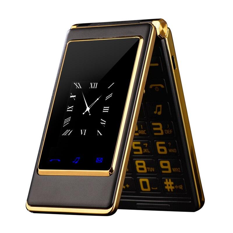 MAFAM Slim Flip de 3,0 pulgadas de doble pantalla de teléfono móvil Dual Sim MP3 MP4 FM cubierta de los teléfonos celulares para mayor hombre