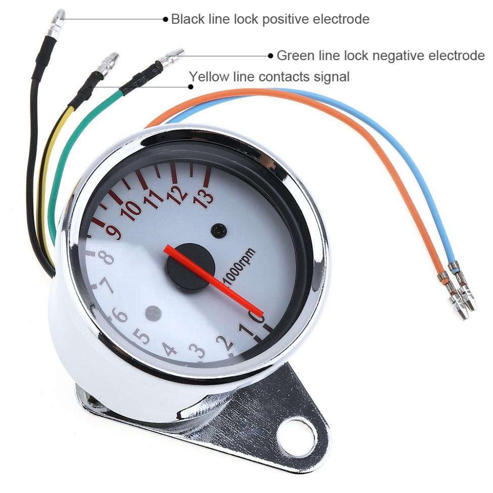 medium resolution of general purpose 13000 rpm 12v motorcycle white chassis 5 wire speed wiring a tachometer on motorcycle