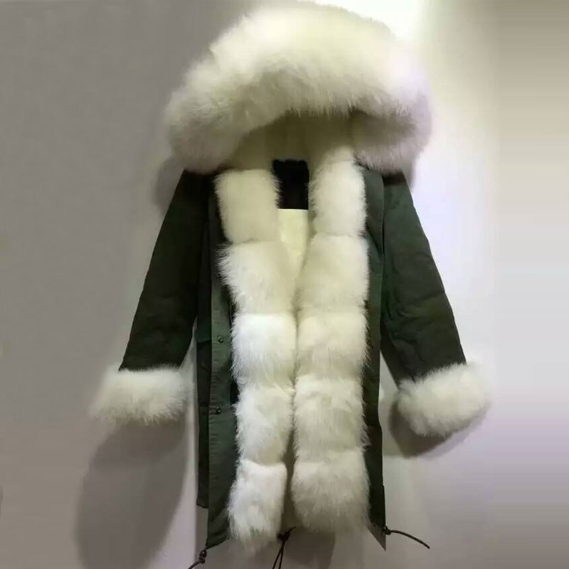 New Arrival design White fox fur hood long jacket with faux fur thick lining coat