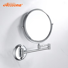 Accoona Chrome Wall Mirror Vanity Cosmetic Mirror Bath Mirrors 360 Angle Swivel Design Bathroom Mirrors 7 inch 9 inch A223(China)