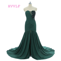 Green Evening Dresses 2018 Mermaid Sweetheart Chiffon Appliques Beaded Slit Women Long Evening Gown Prom Dresses