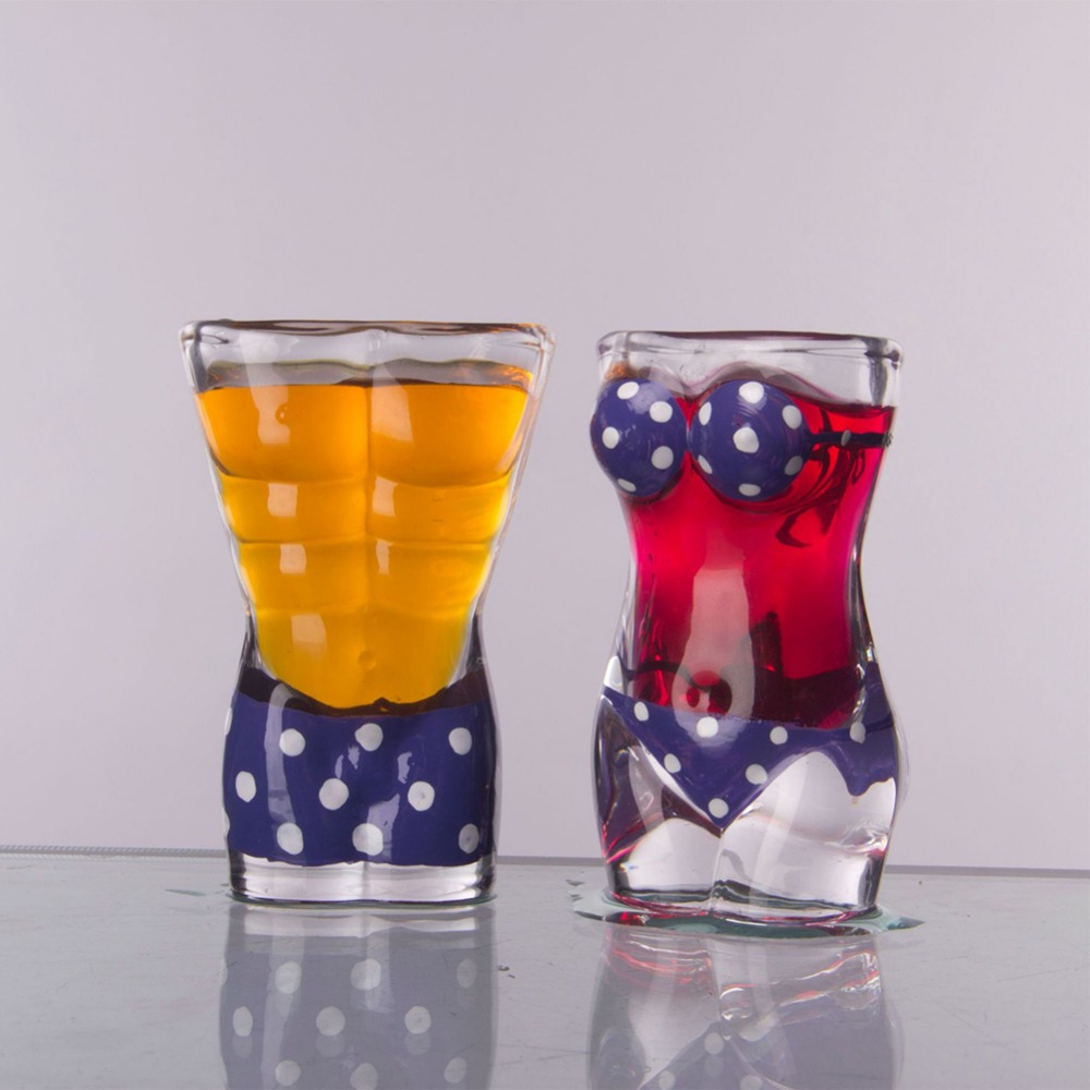 New Sexy Lady Men Durable Double Wall Whiskey Glasses Wine Shot Glass Big Chest Beer Cup 30ml /700ml Bar Nightclub Wine Glass 4