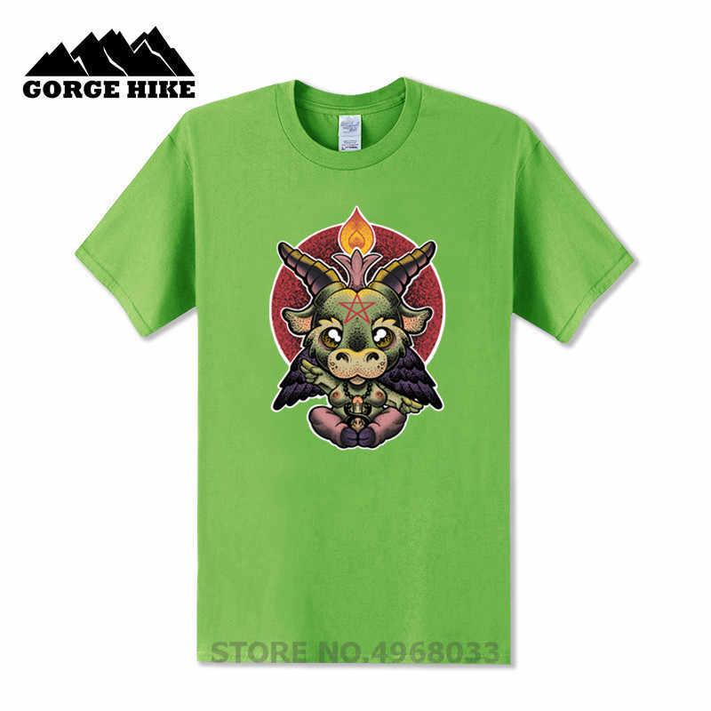 새로운 남자 티셔츠 아기 baph 컬러 baphomet 너무 귀여운 악마 패션 t 셔츠 만화 짧은 소매 o-넥 사탄 염소 baphomet