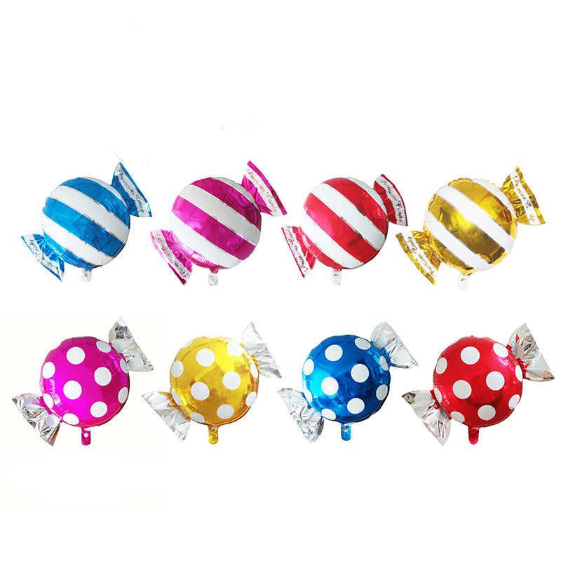 4 шт./лот фольгированные гелиевые шары конфет воздушные в полоску горошек для дня