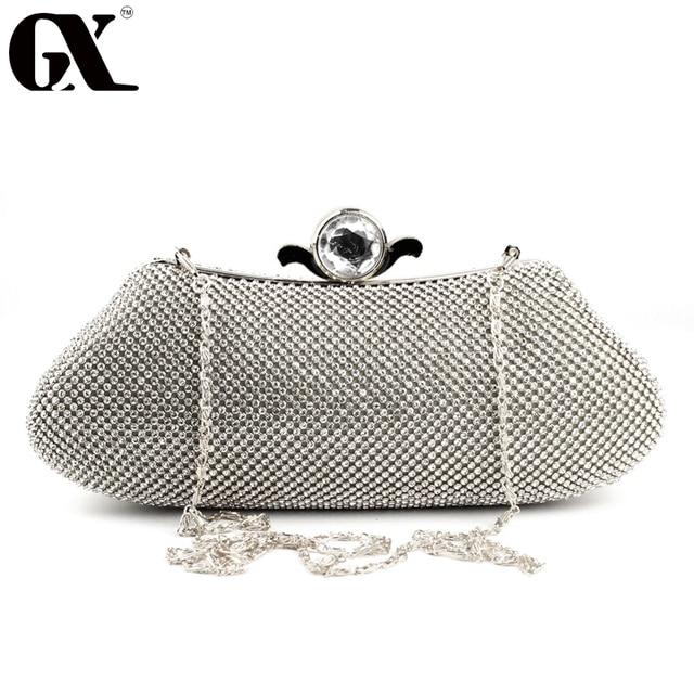 Gx 2017 Evening Bag Clutch Bags Lady Wedding Crossbody Purse Rhinestones Handbags Silver