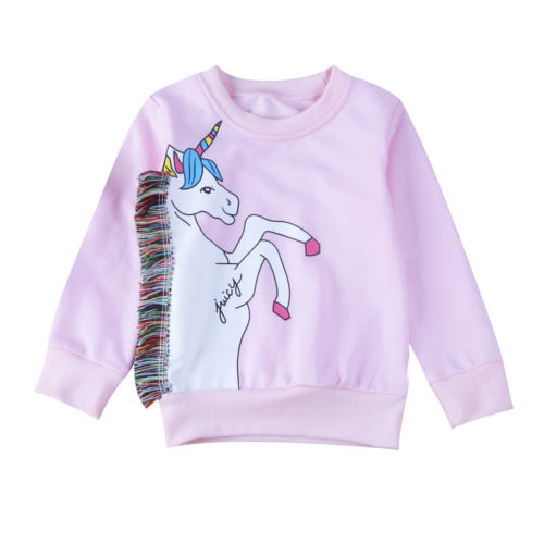 Cotton Long Sleeve Pullover Top Infant Baby Girls Unicorn Sweatshirt Toddler Kids Jumper Top Casual Children Clothing 0-7T