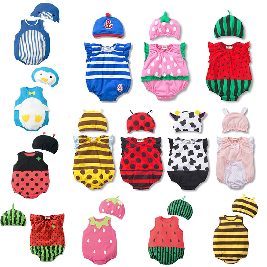 Orderly New Summer Baby Girl Clothes Sets Cartoon Baby Boy Rompers + Hat Unisex Baby Rompers Cartoon Animal Clothing 2 Pcs/set Ample Supply And Prompt Delivery