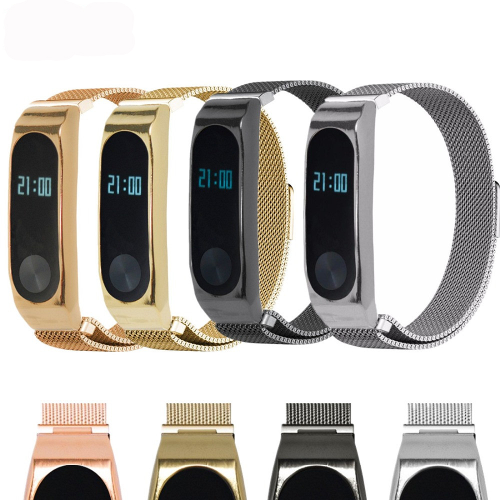 EIMO Milanese Loop for xiaomi mi band 2 wrist Magnetic buckle Link Bracelet for xiaomi mi band2 wrist band Bracelets in Watchbands from Watches