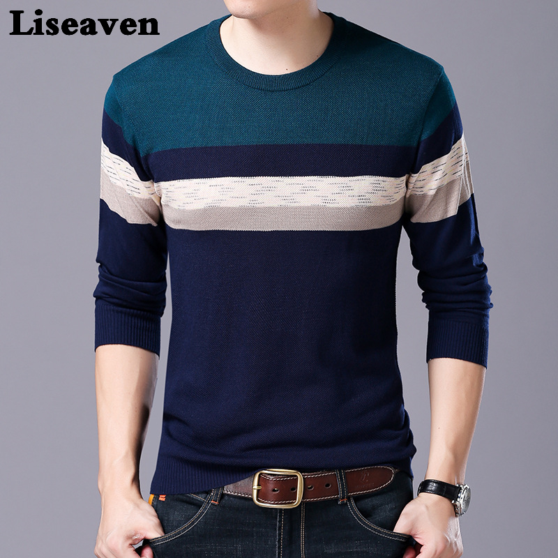 Liseaven Men Tops Autumn Winter Pullovers Male Long Sleeve Sweater Slim Fit Pullover Sweaters