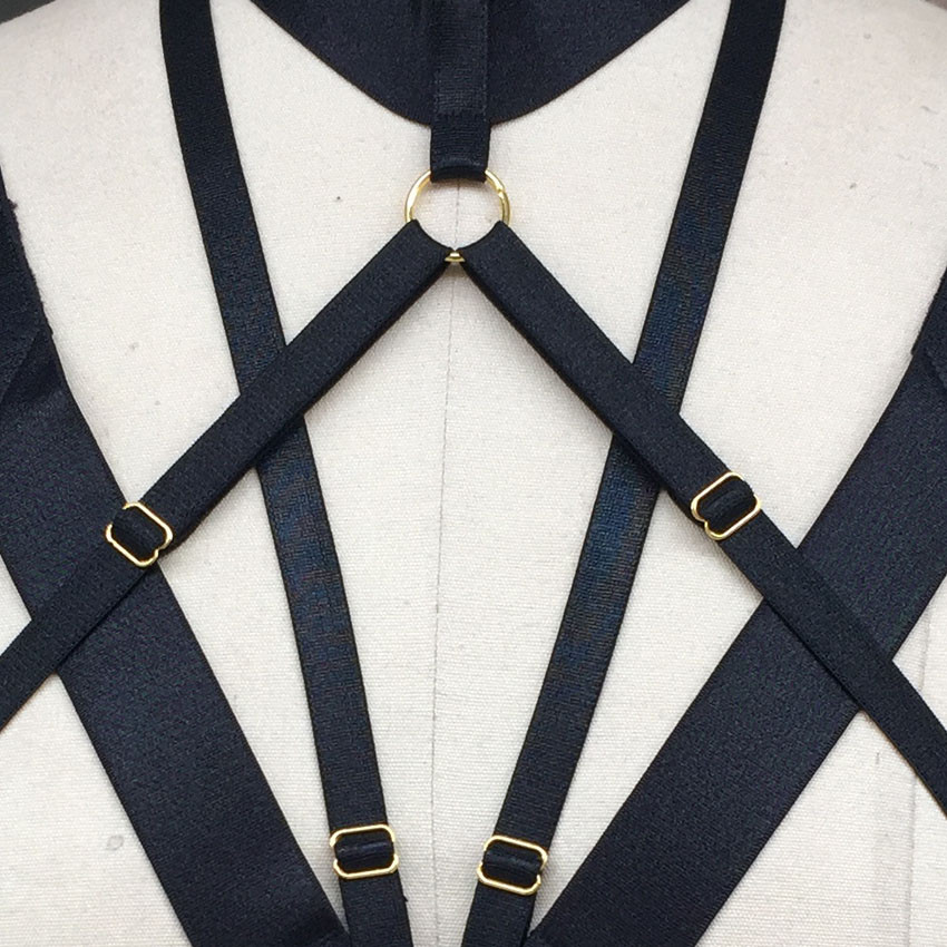 Harness Belt Fetish Wear Gothic Gold Ring Pole dance