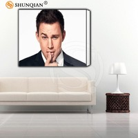Custom Framed Picture Channing Tatum Classic Canvas Prints Realistic DIY Oil Painting Fabric Printed On Canvas