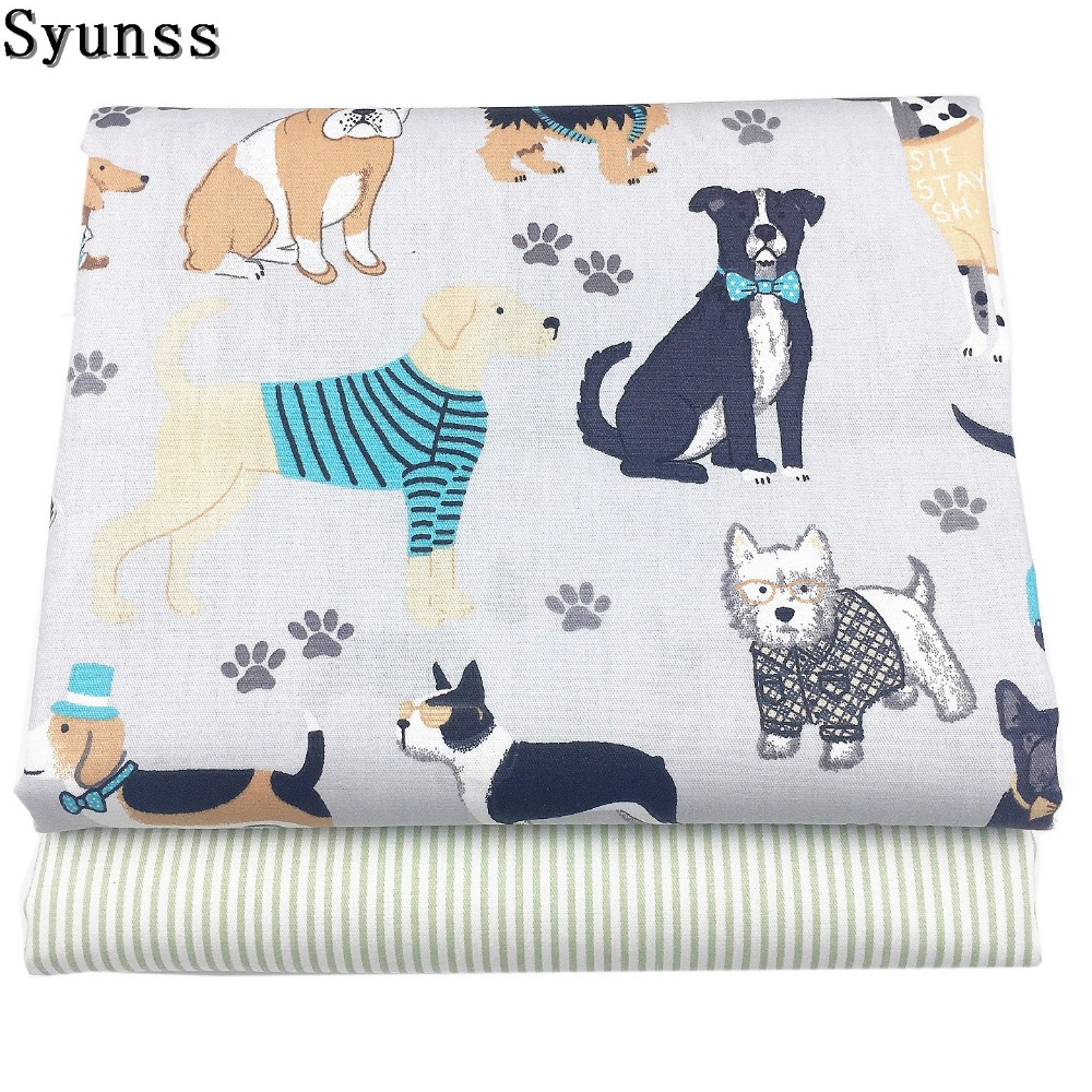 Syunss Grey Pet Cute Dog Printed Cotton Fabric Meters for Patchwork Quilting Baby Cribs Cushions Blanket Sewing Tissus Material