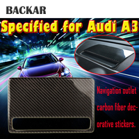 BACKAR Carbon Fiber Dashboard Navigation Decorative GPS Stickers Protective Covers For Audi A3 8V 8p 8l 2012 2017 Accessories