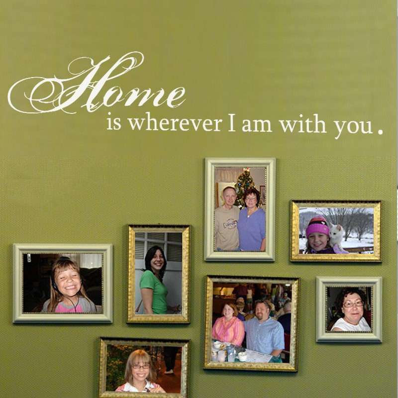 Home Is Wherever Im With You - Love Wall Quote Decal Family Warming Words Vinyl Lettering Wall Sticker 34 x 7 S