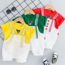 2019 Summer Baby Girls Boys  Clothing Sets Infant Toddler Clothes Suits Dog T Shirt Strap Shorts Kids Children