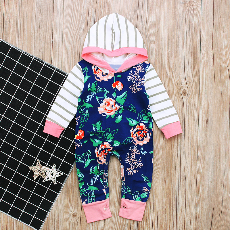 df2294bee Baby Romper One piece Pullover Hoodies Flowers Camellia Petals Rose ...