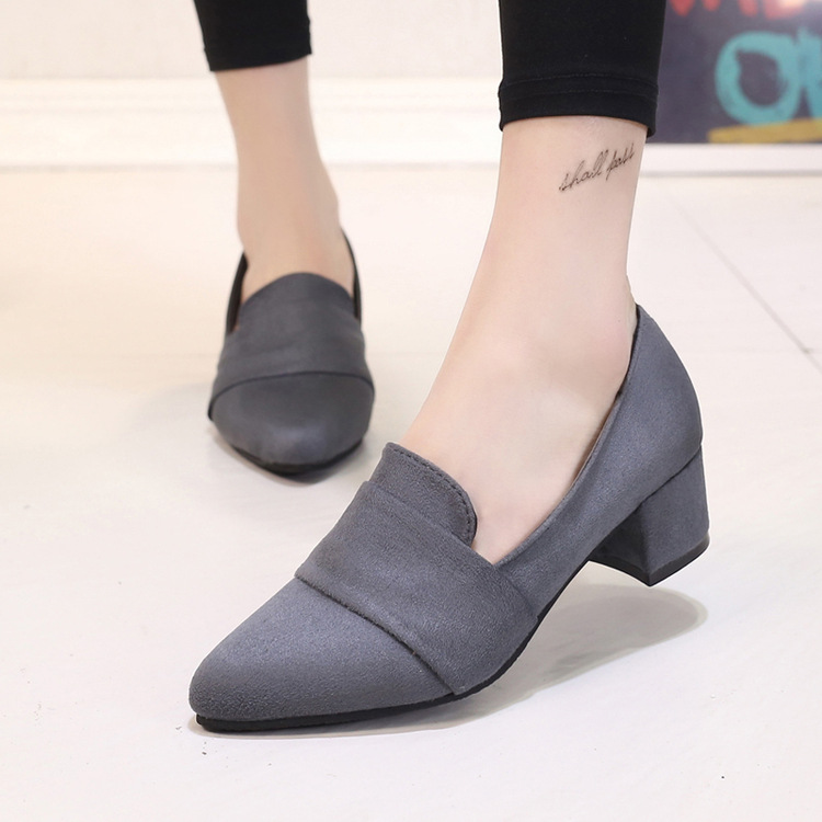 Fashion 2017 Women Career Pumps Square Heel Pointed Toe High Shoes Office
