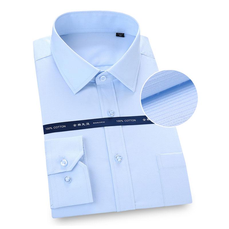 Herrenbekleidung & Zubehör Stetig Geschäfts Formalen Männer High-grade Kleid Hemd Lange Ärmeln Reine Baumwolle Hohe Qualität Social Nicht-eisen Solide Gestreiften Männer Arbeit Shirt