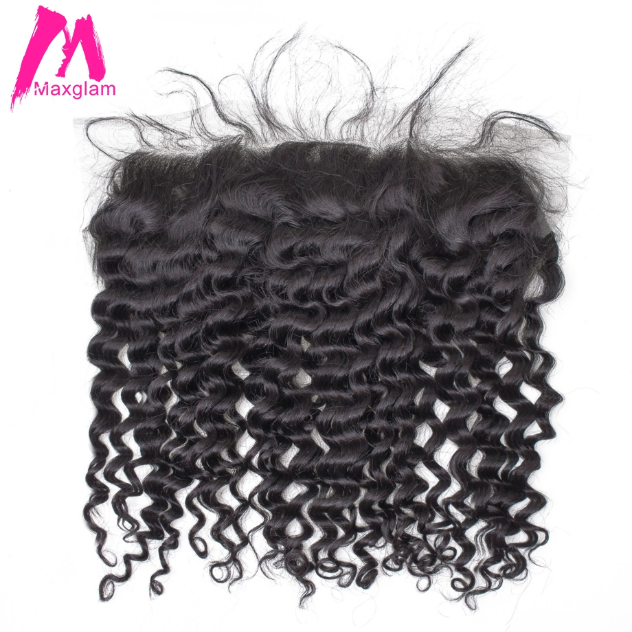 Malaysian Remy Hair Deep Wave Lace Frontal Closure 4x13 Lace Closure With Pre Plucked Baby Hair