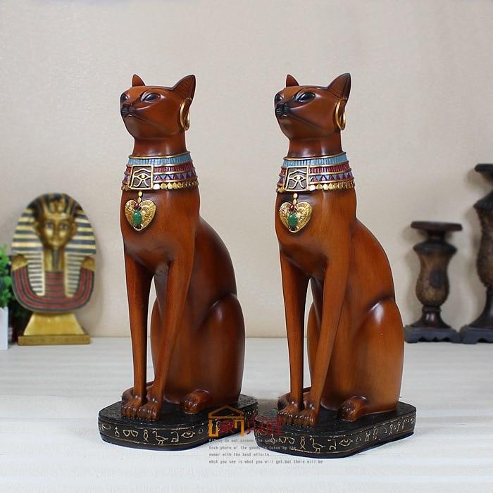 Accueil cadeaux artisanat résine afrique dieu égyptien chat typique luxueux décoratif sculpture 38 cm de haut plus grand chat garde 2 couleurs