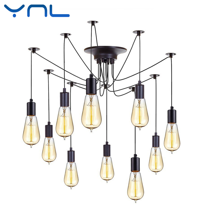 YNL Modern Nordic Retro Edison Bulb E27 2 meters Line Vintage lamps Antique DIY Art Spider Pendant Lights Home suspension