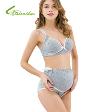 f1af74a291 Cotton Maternity Bra+Panties Set Prevent Sagging Nurse Bra for Pregnant  Women Wire Free Breastfeeding