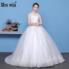 Mrs Win New 2020 V neck Ball Gowns Sleeveless Wedding Dresses Simple Lace Appliques Body Real Image Vestido De Noiva