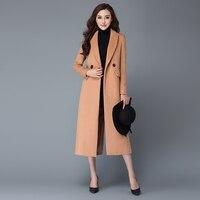 2016 Autumn Winter Fashion Women Wool Coat Outerwear Padded Lining Overcoat Camel Red Wine