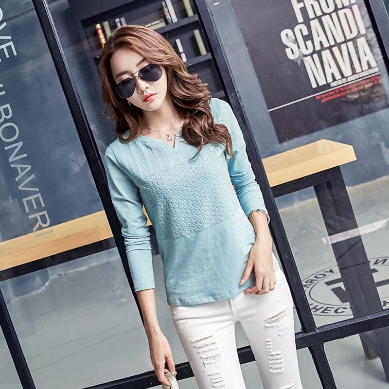 T Shirt Wanita korea pakaian 2018 Bordir Tshirt femme V-Neck T-Shirt - Pakaian Wanita - Foto 4