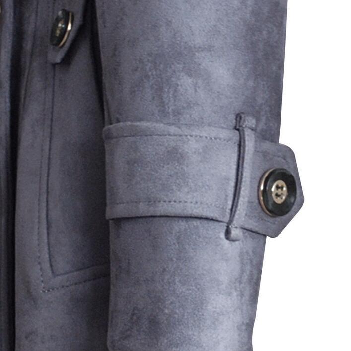 Ultra Manteau Longue Taille Pardessus Plus De La Survêtement 2019 Mode Chamois Daim Green Tranchée army Manteaux Peau Cachemire Femelle gris Femmes Noir fI0wfq8