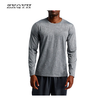 ZXQYH nowych mężczyzna szybkie suche koszulki z długim rękawem Sport topy piesze wycieczki koszulki do biegania elastyczny wspinaczka koszulki siłownia na wolnym powietrzu Fitness koszulki tanie i dobre opinie Camping i piesze wycieczki Tees Stałe Pasuje prawda na wymiar weź swój normalny rozmiar Coolmax Pełna Poliester Men s Sport T-Shirts