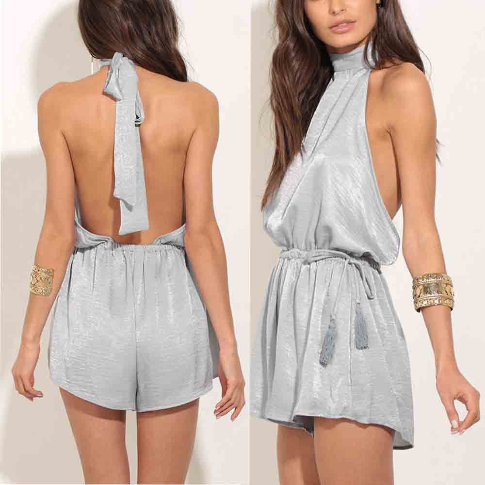 2017 Summer Casual Women Backless Sexy Fashion Playsuit Ladies Jumpsuit Summer Beach Pregnant Women Dress