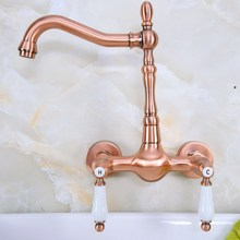 купить Antique Red Copper Brass Wall Mounted Bathroom Kitchen Sink Faucet Swivel Spout Mixer Tap Dual Ceramics Handles Levers anf947 дешево