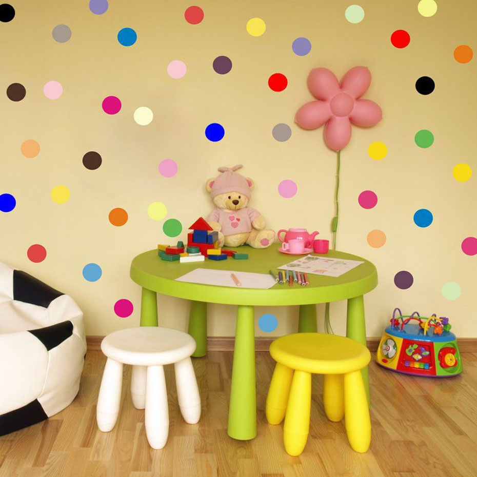 Polka Dots Circles Colorful Wall Sticker Circles In The Rainbow ...