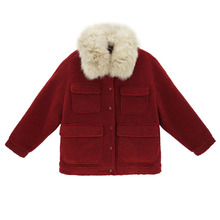 Womens Winter Warm Outwear Solid Fur Colllar Pockets Vintage Coats Jacket Button Parkas