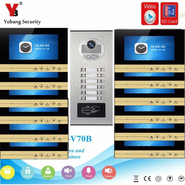 YobangSecurity Video Intercom 7Inch Video Door Phone Doorbell Chime RFID Access Control With Video Recording Take Photo Function