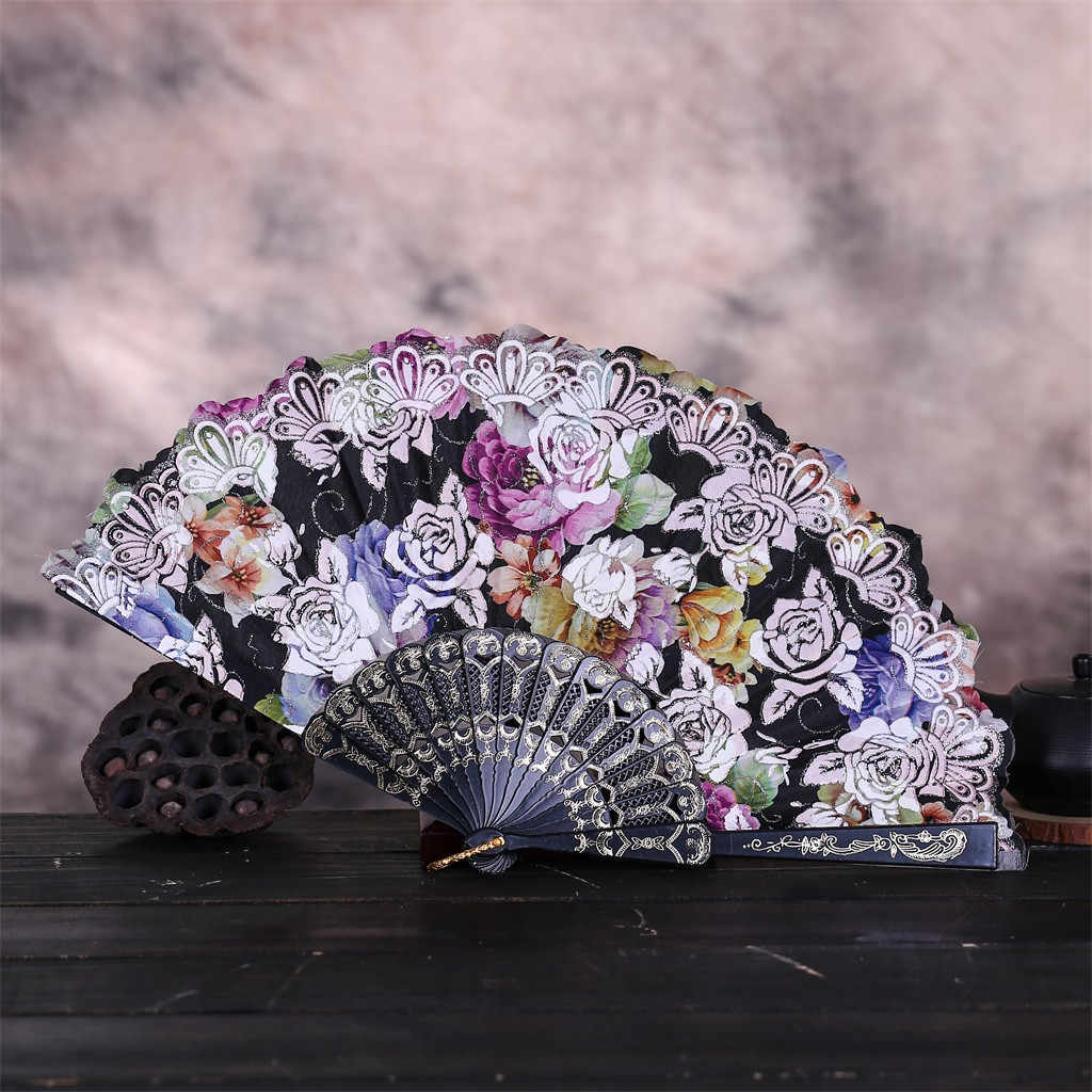 Flower Fans Vintage Rose print Chinese Style Dance Wedding Party hand fans Lace Silk Folding Hand Held Flower Fan abanico 2019