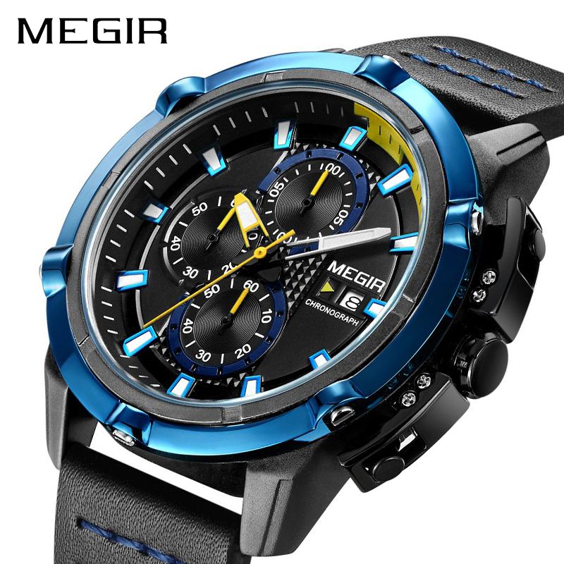 MEGIR Mens Chronograph Analog Quartz Watches Luminous Hands 3 ATM Waterproof Wristwatch for Man Sport Watch for Boys 2062