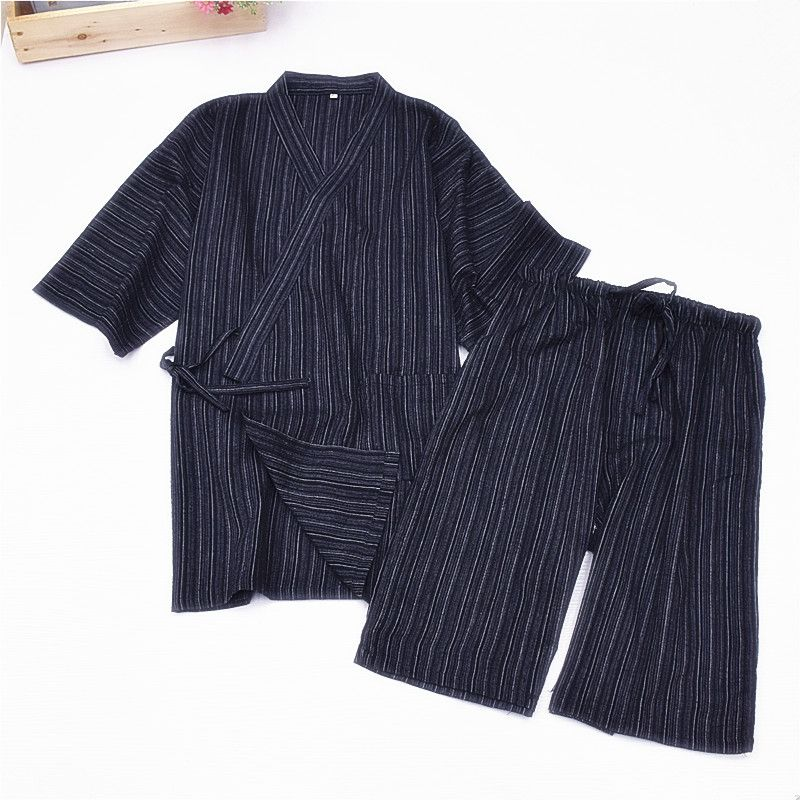 2019 Men Cotton Yukata Kimono Suit Men Japanese Traditional Pajamas Set Summer Japanese Style Bathrobe 041101