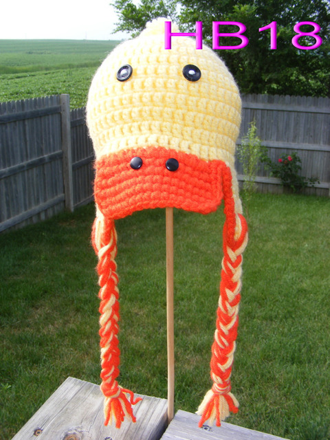 free shipping childrenu0027s Earflaps hat100% cotton Baby Boy Girl Crochet yellow Duck & free shipping childrenu0027s Earflaps hat100% cotton Baby Boy Girl ...