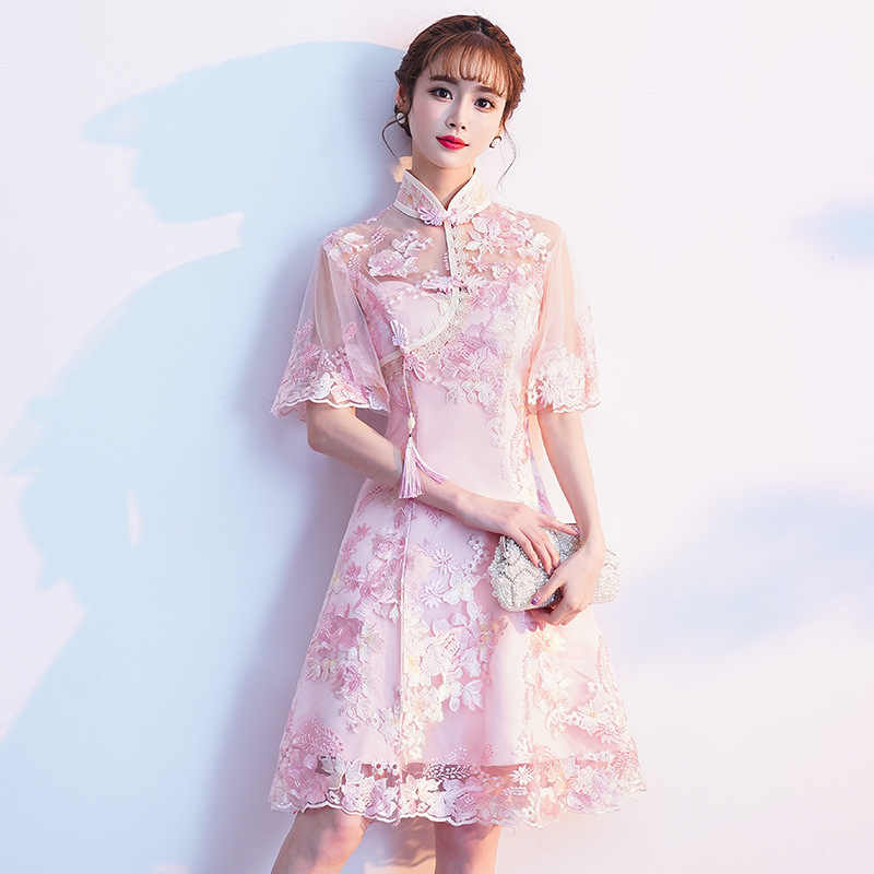 Pink Sweet Oversize 3XL Vestidso Lady Cheongsam Novelty Prom Party Dresses Gown Chinese Style Elegant Lace Qipao S-190521-21