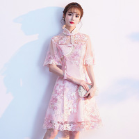 Pink Sweet Oversize 3XL Vestidso Lady Cheongsam Novelty Prom Party Dresses Gown Chinese Style Elegant Lace Qipao S 190521 21