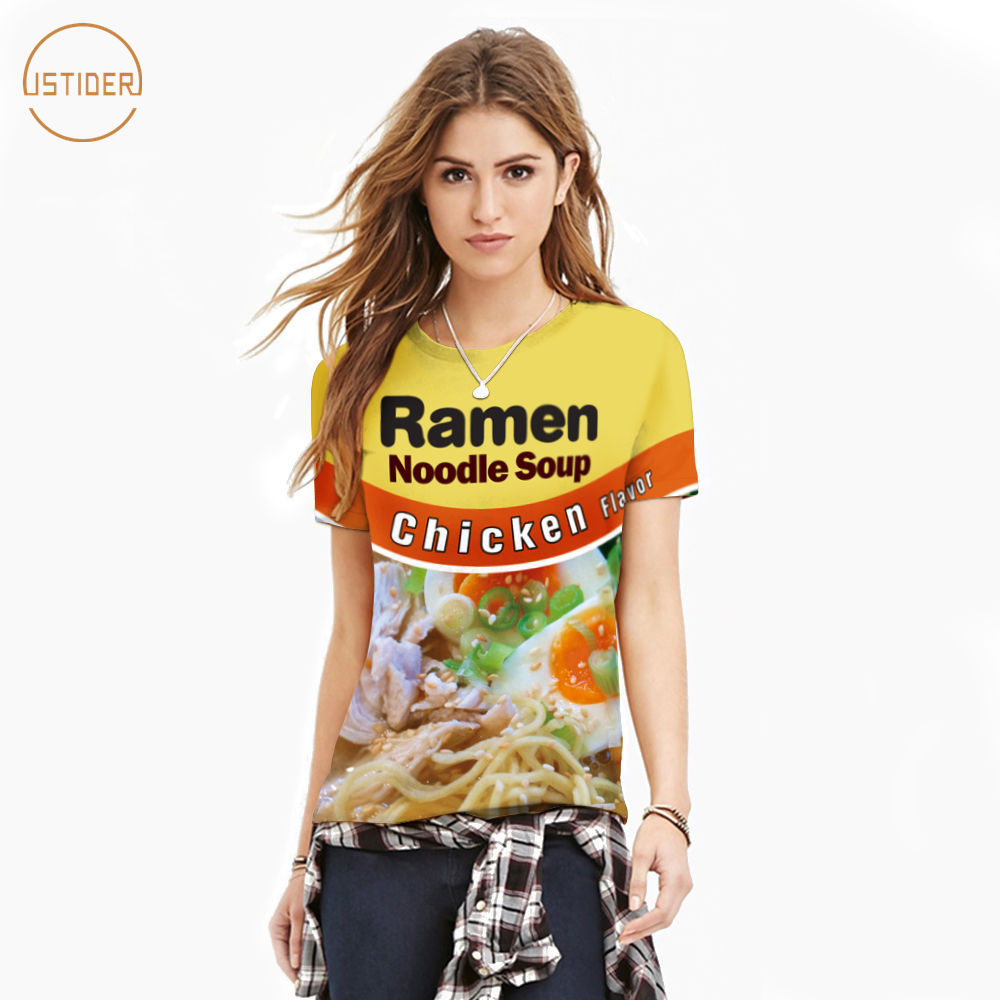 14957f07f ISTider Funny T Shirts Beef/Chicken Flavor Ramen Noodle Soup Foods T Shirt  3D Clothing Men Women Summer Streetwear Camiseta-in T-Shirts from Men's  Clothing ...