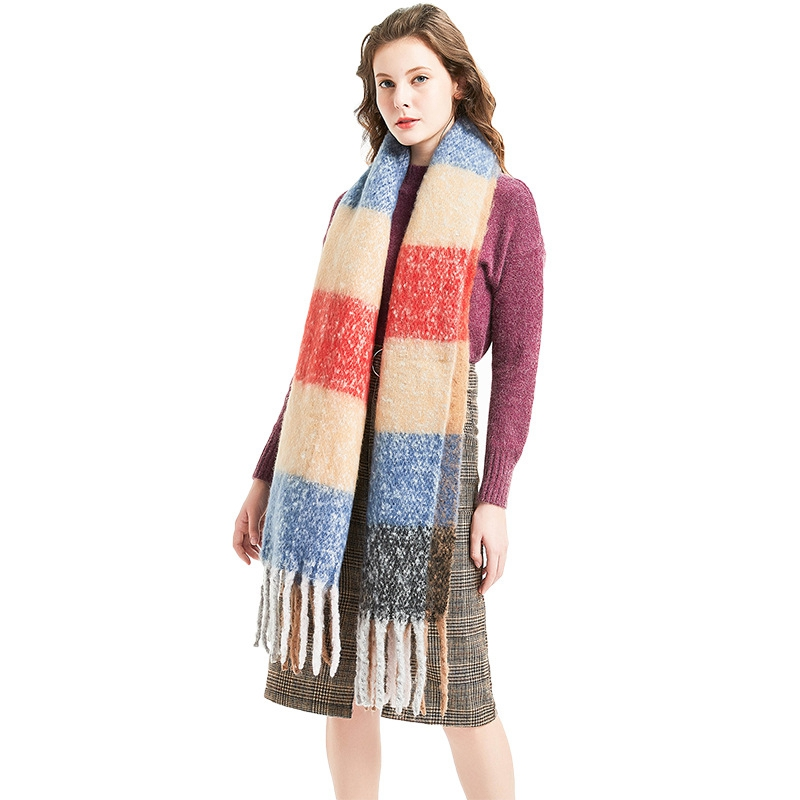 LARRIVED 2019 New Winter Thicken Women Knitted Striped Coat Luxury Ladies Autumn colorized Tassels Capes and Ponchos New in Women 39 s Scarves from Apparel Accessories