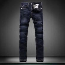 Синий контракт мужские джинсы мужчин Случайные брюки брюки мужчины дизайнерский бренд брюки прямые новый мальчик джинсы Маленькие ноги брюки