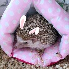 Милая маленькая кровать для животных, домик для питомца, кролика, хомяка, складная кровать для питомца, морская свинка, зимняя теплая хлопковая крыса, мультяшное гнездо, спальный мешок для кошки