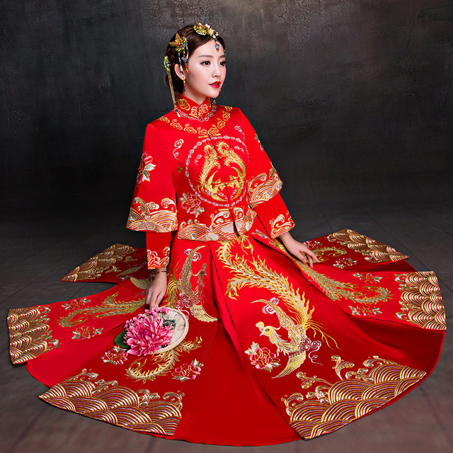 New Chinese Red luxurious Qipao clothing show autumn bride wedding gown dress female Fashion pattern Phoenix Suzhou embroidery