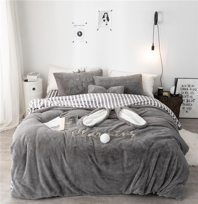 Gray White Pink Rabbit Ears Embroidery Fleece Fabric Girl Child Bedding Sets Soft Flannel Duvet Cover Bed Sheet/Linen Pillowcase